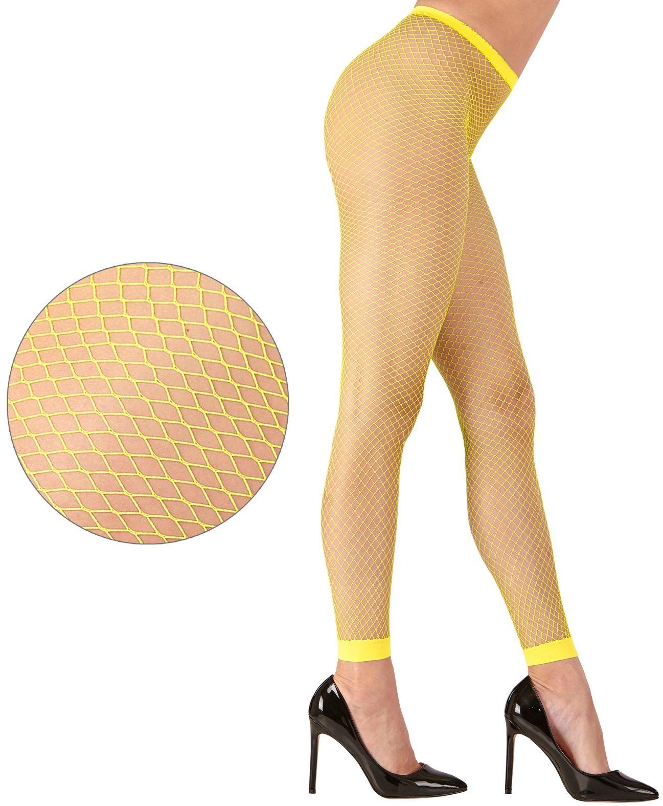 Gele neon visnet legging One-size-volwassenen