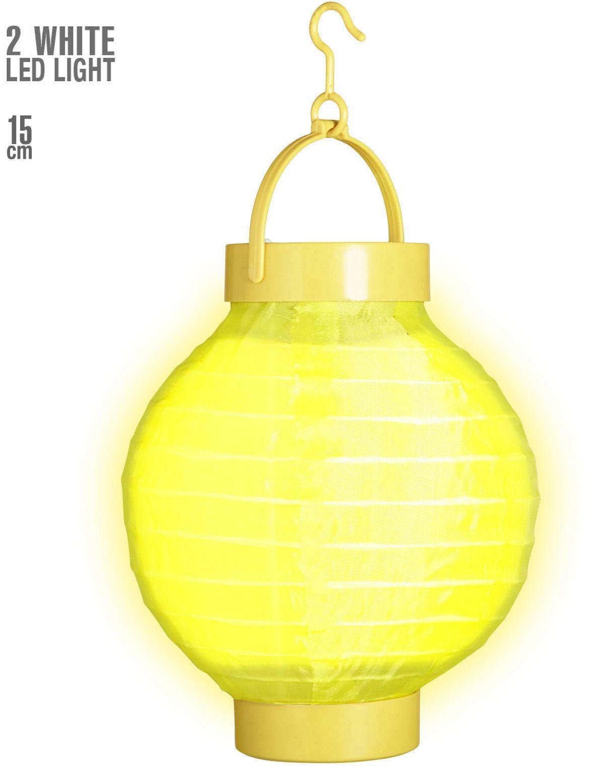 Gele stoffen lampion met 2 witte LED lichten