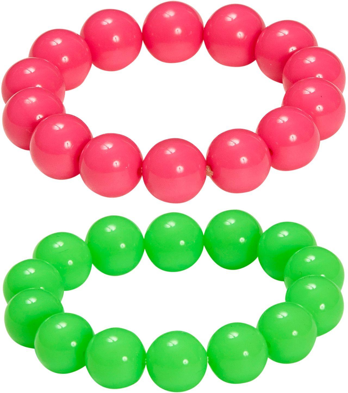 Geparelde neon armbanden 2 stuks