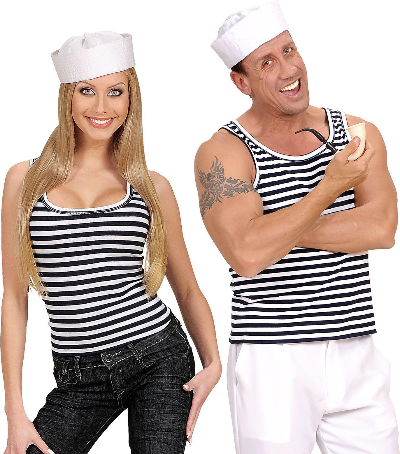 Gestreept zeemanshirt wit/zwart