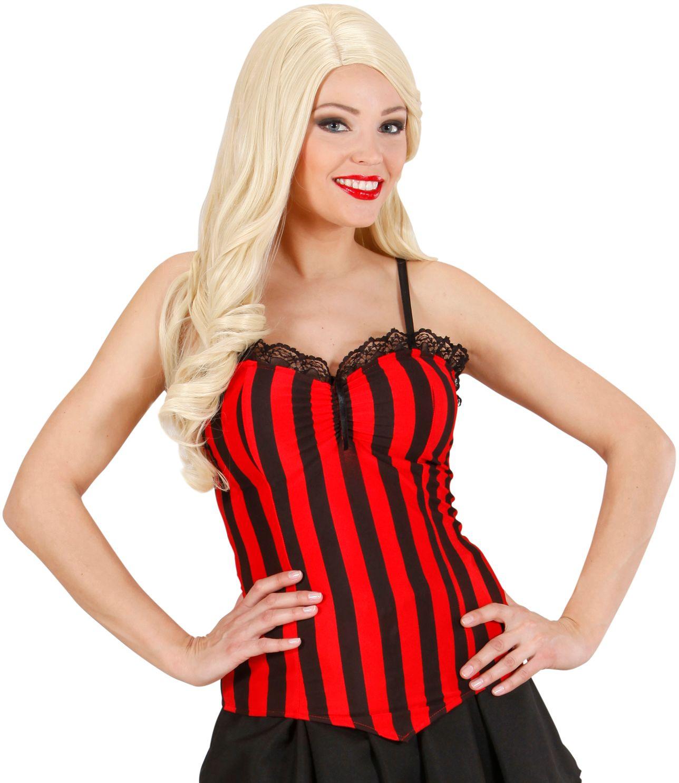 Gestreepte corset zwart rood