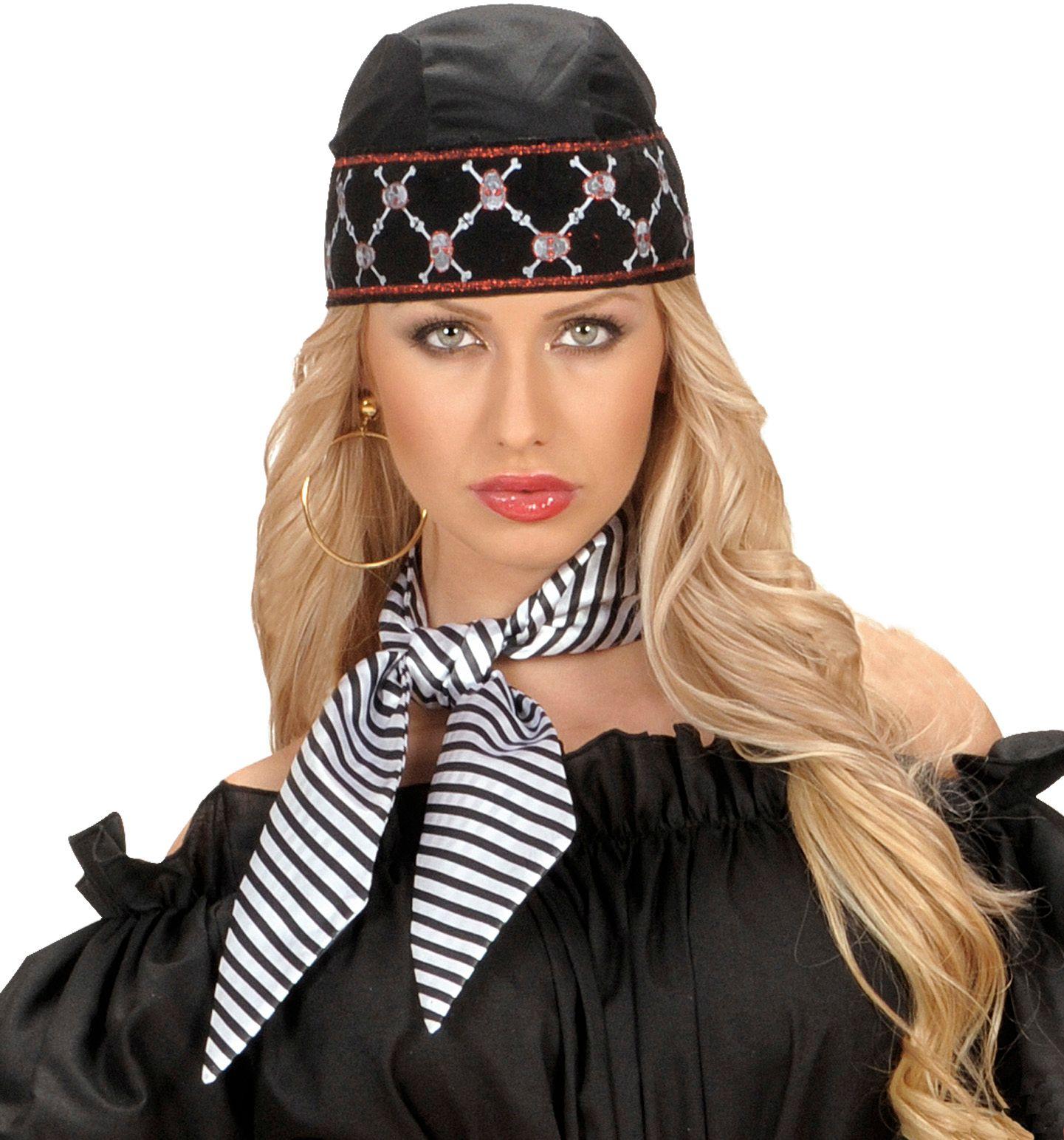 Gestreepte halsdoek zwart-wit