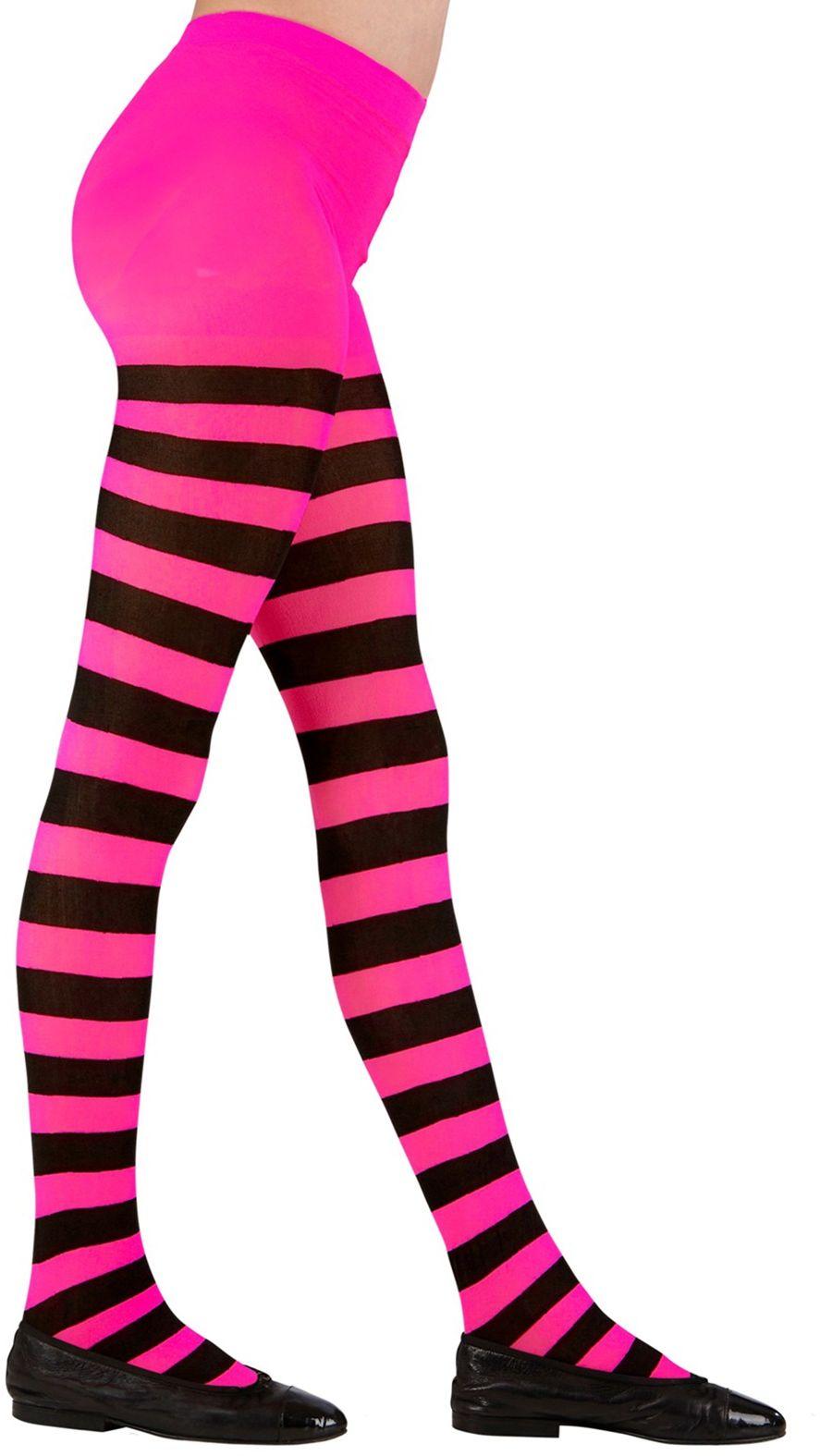 Gestreepte panty roze/zwart