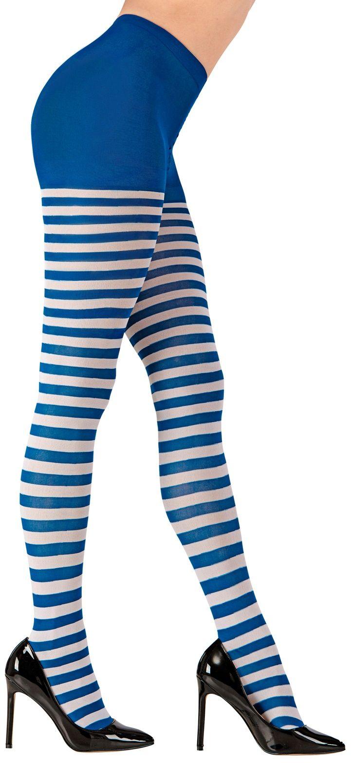 Gestreepte panty wit/blauw