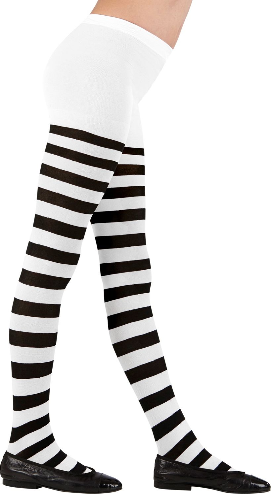 Gestreepte panty zwart/wit