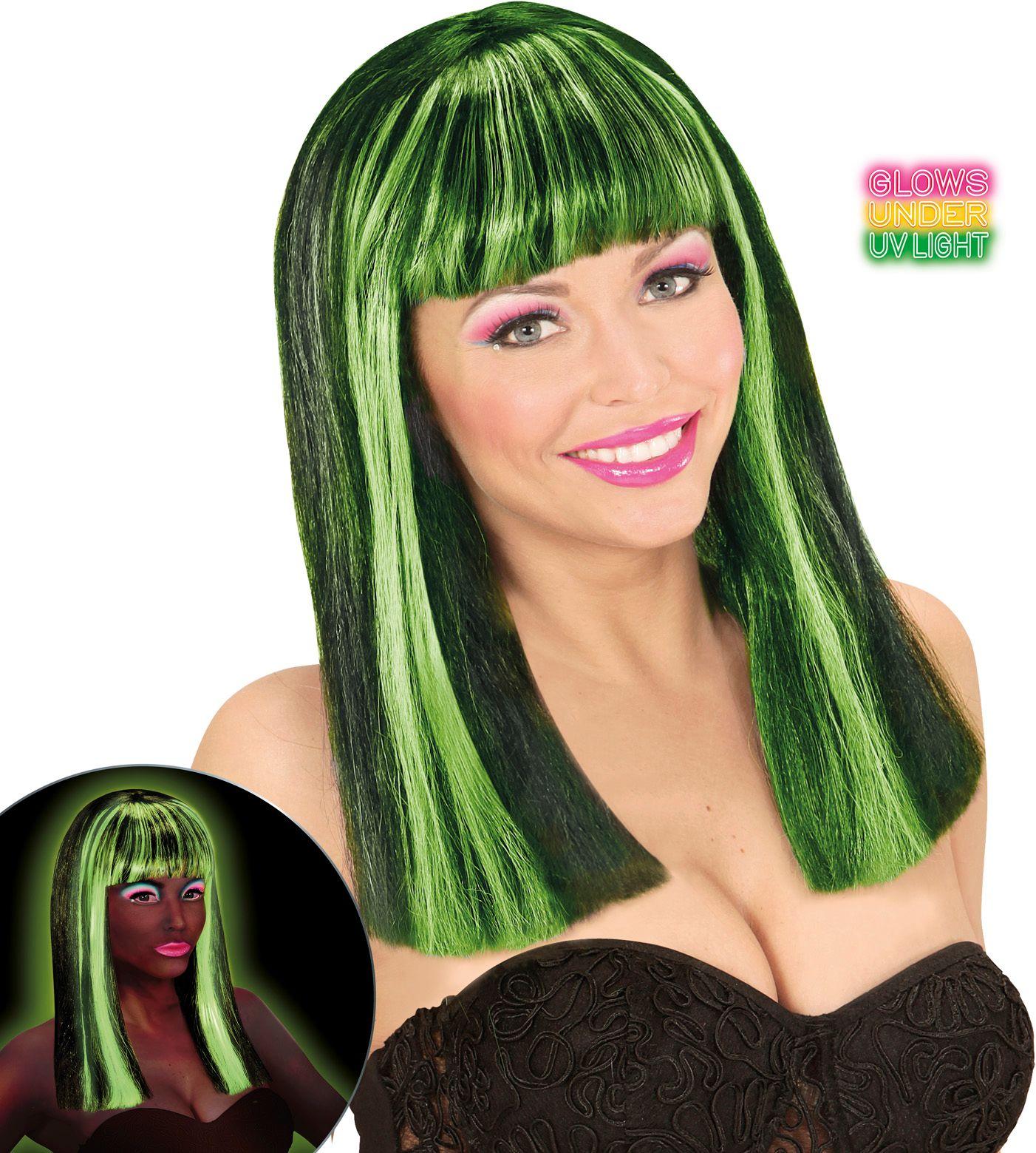 Gestreepte pruik neon groen
