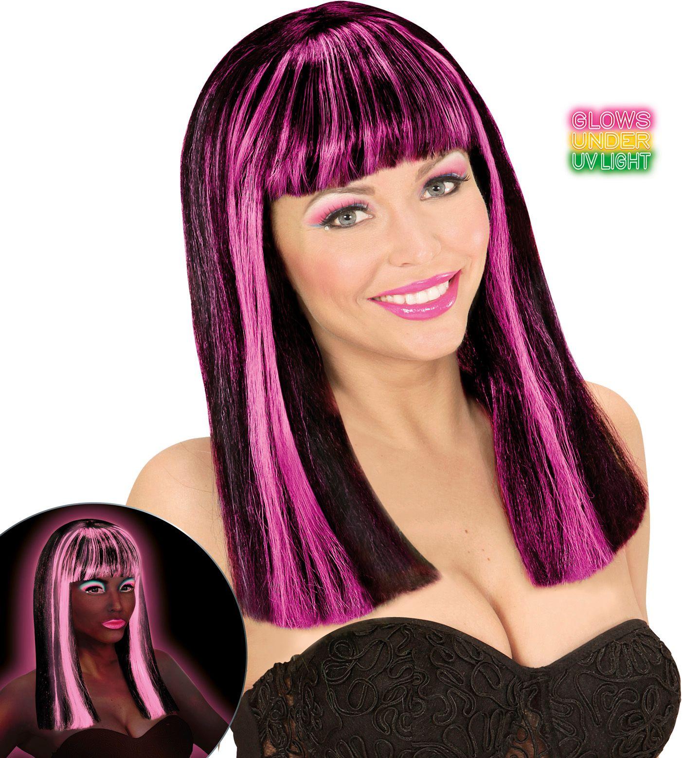 Gestreepte pruik neon roze zwart