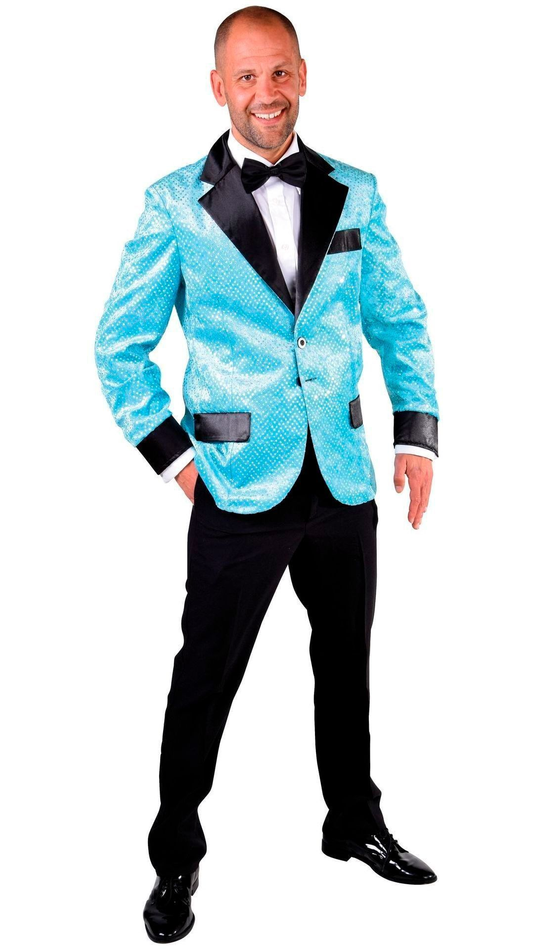 Glitter colbert blauw heren