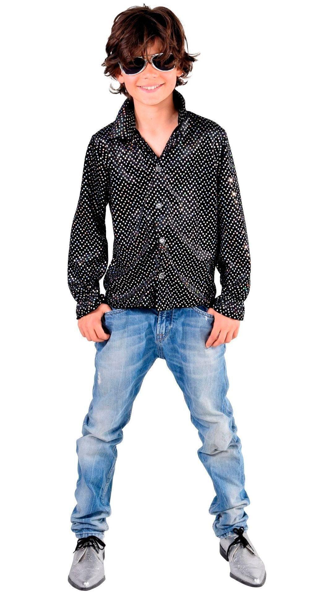 Glitter disco blouse zwart kinderen
