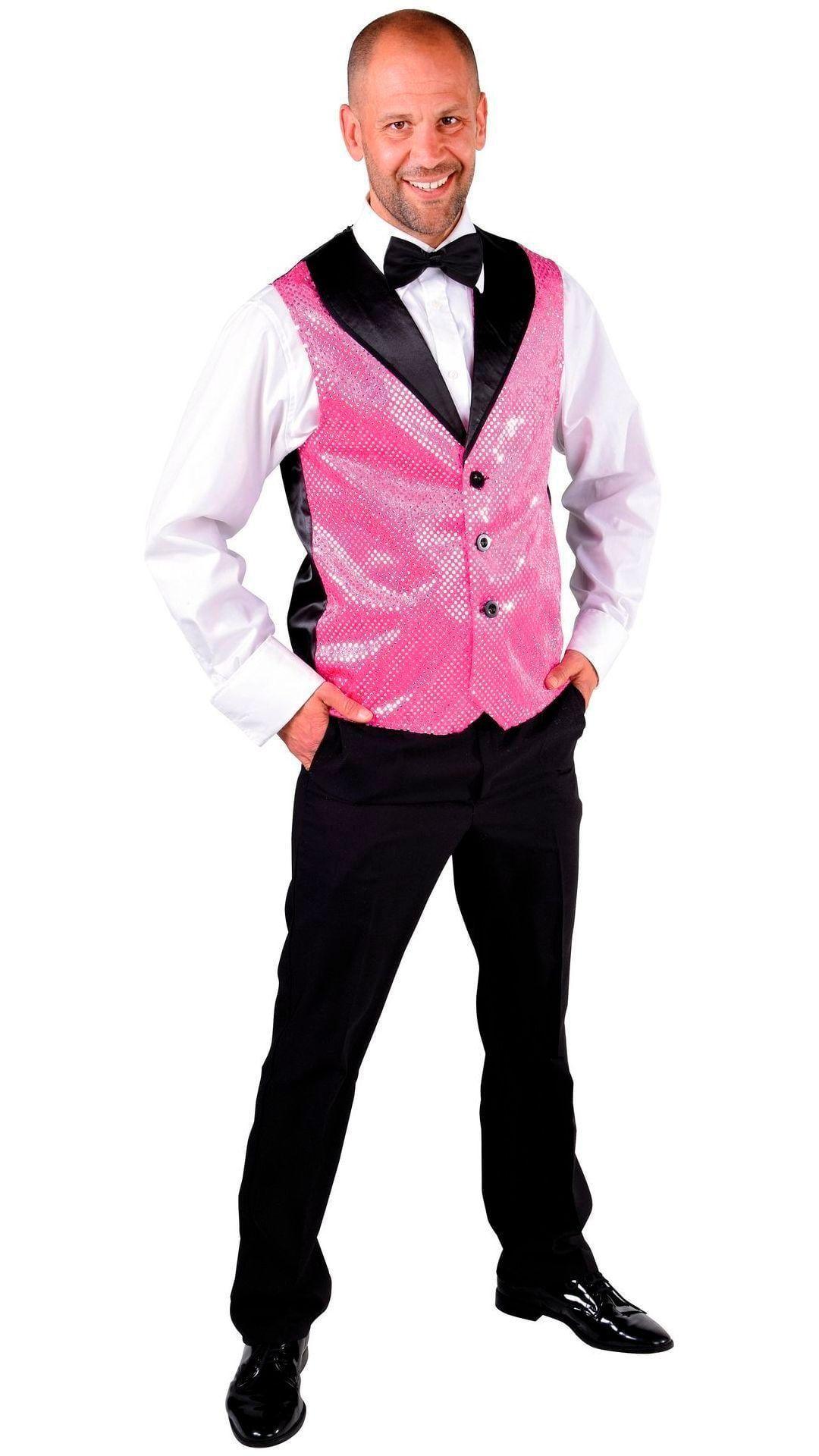 Glitter gilet met roze pailletten
