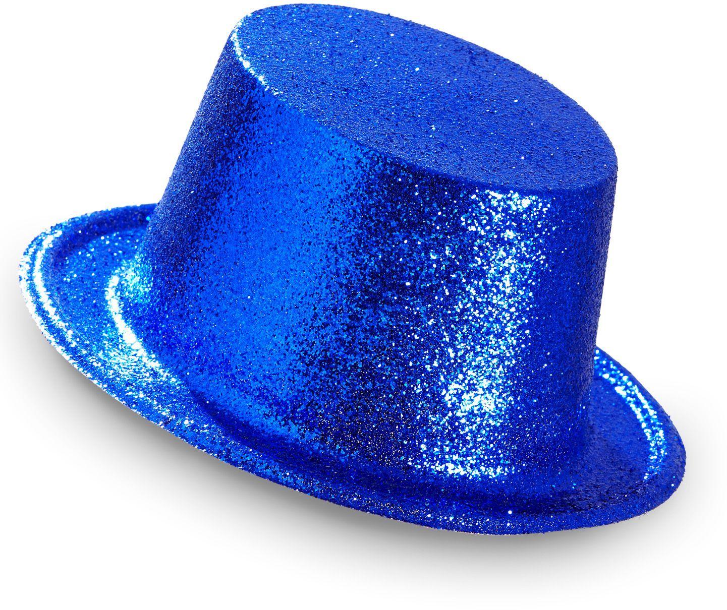 Glitter hoge hoed blauw