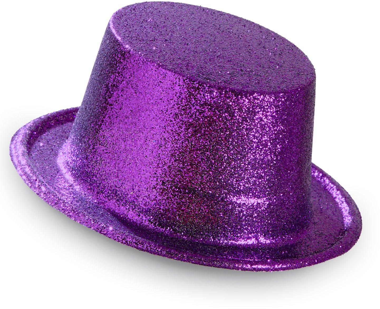 Glitter hoge hoed paars