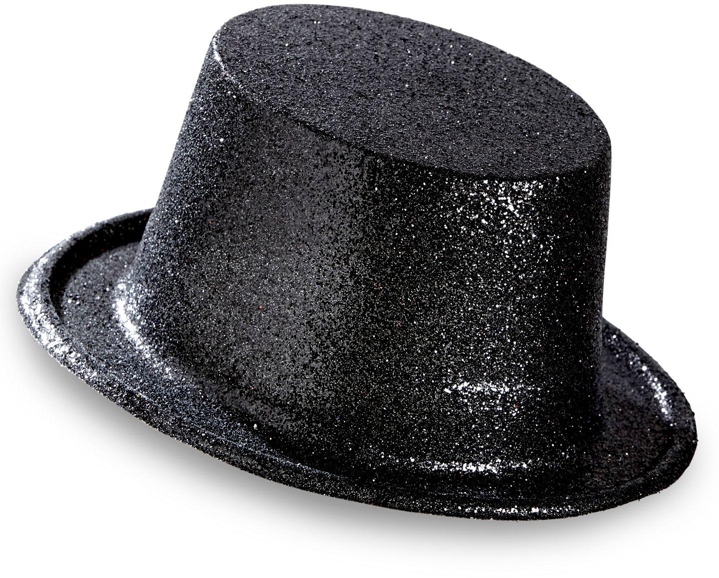 Glitter hoge hoed zwart