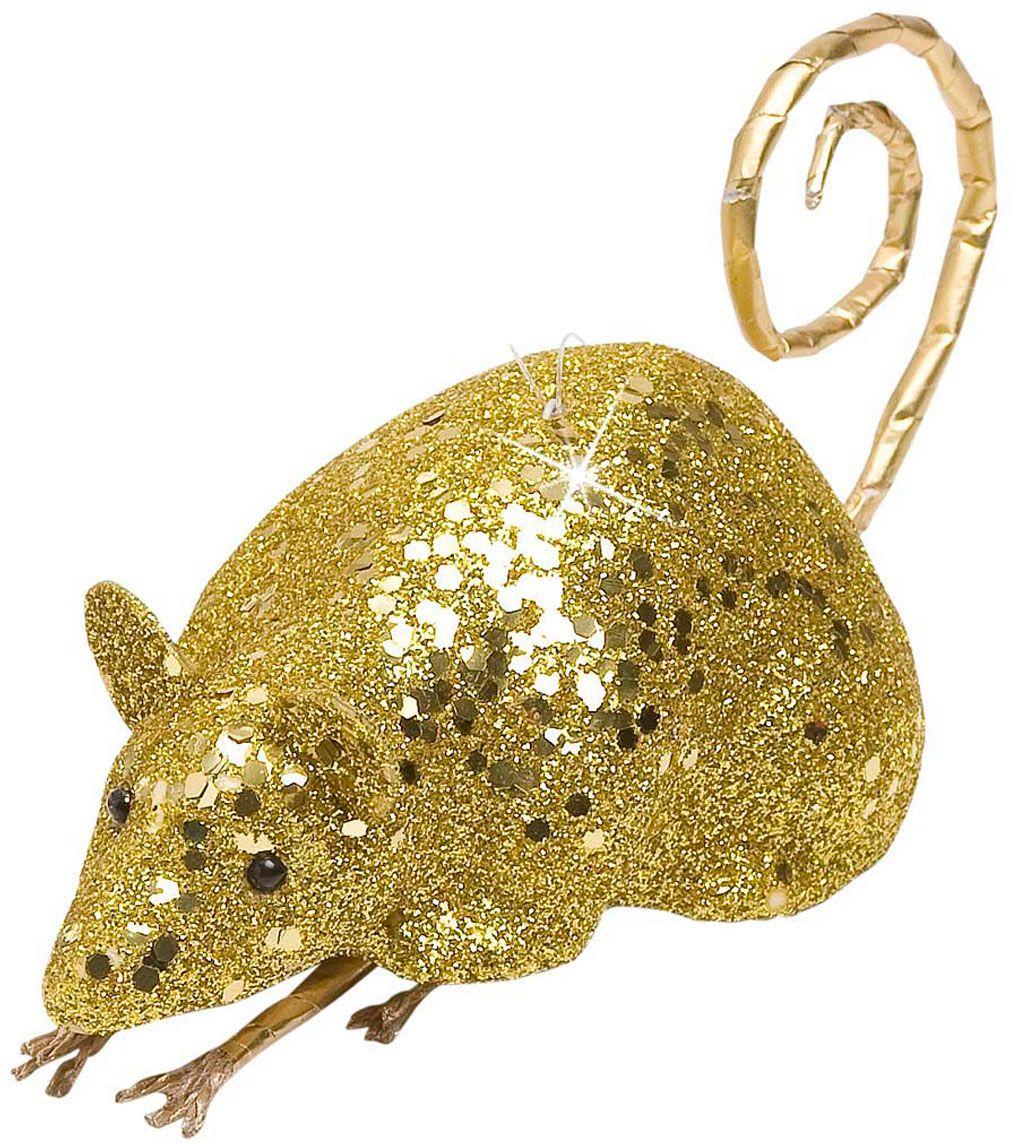 Glitter muis decoratie goud