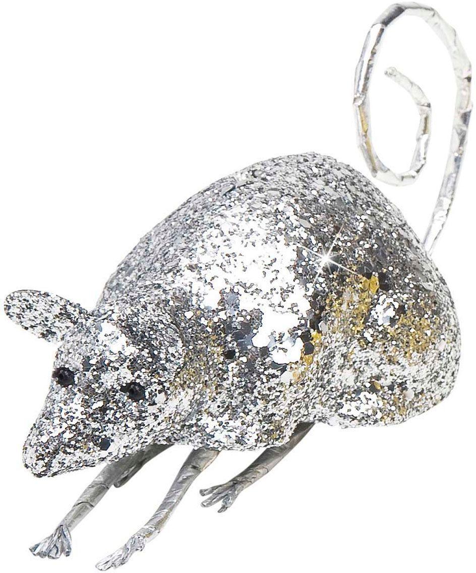 Glitter muis decoratie zilver