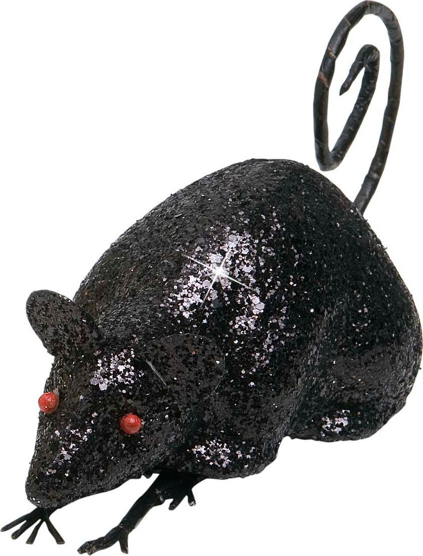 Glitter muis decoratie zwart