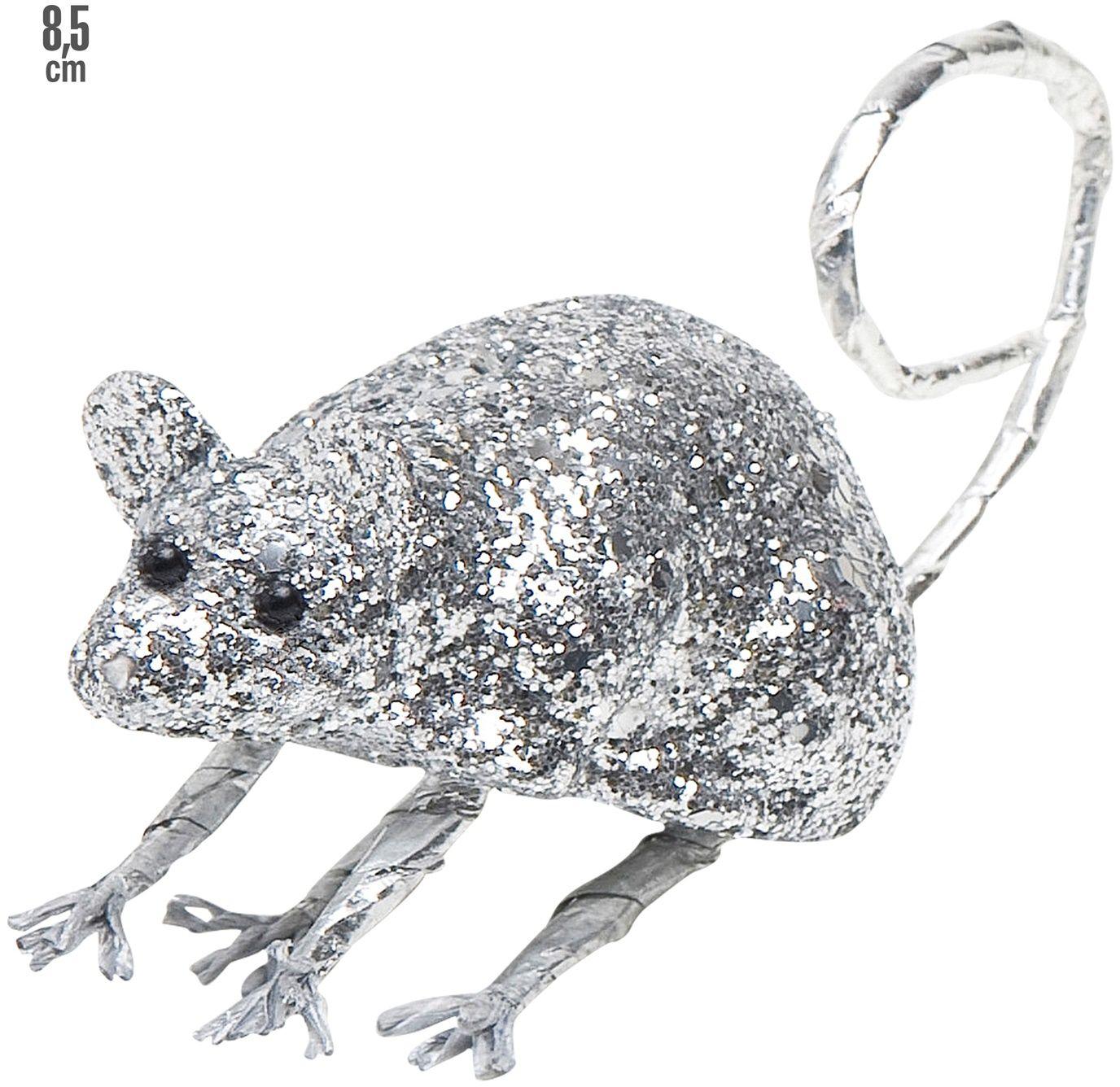 Glitter muis zilver