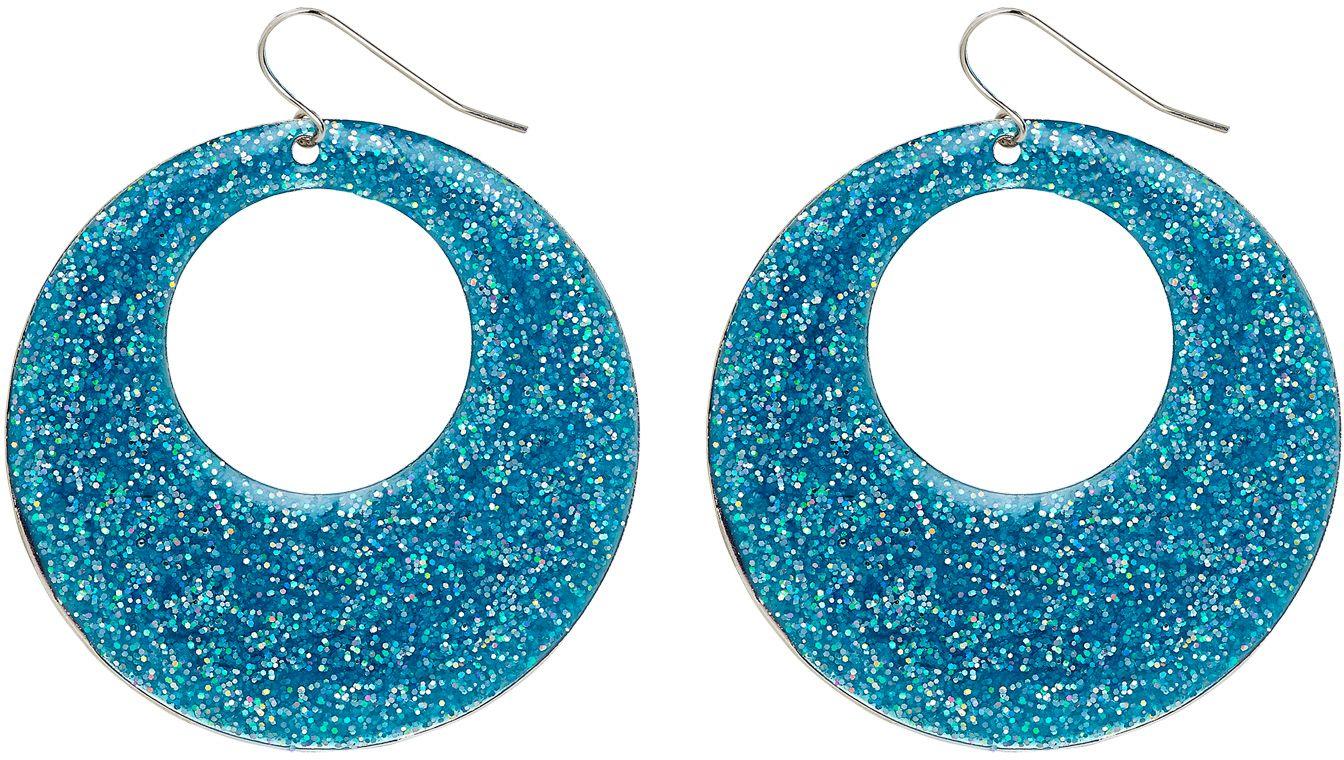 Glitter oorbellen blauw