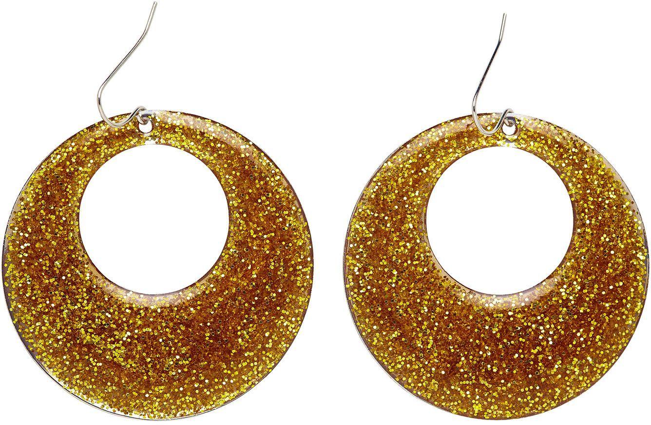 Glitter oorbellen goud