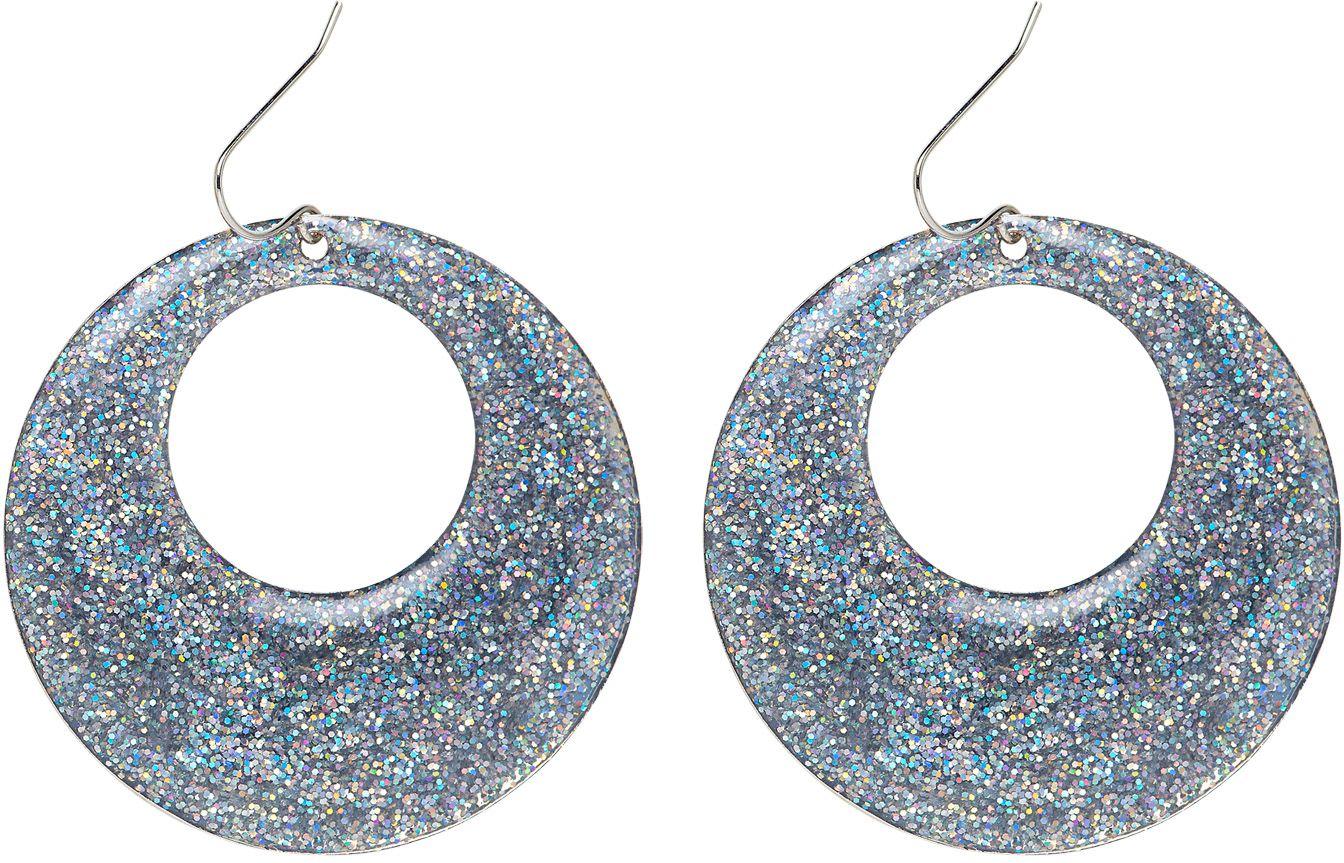Glitter oorbellen zilver