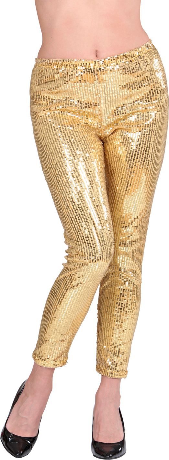Glitter pailletten legging goud