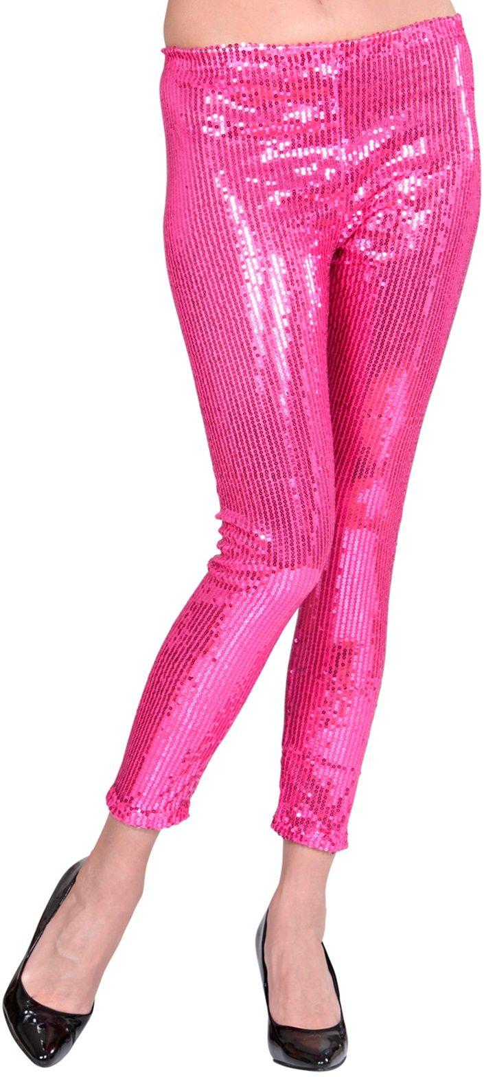 Glitter pailletten legging roze