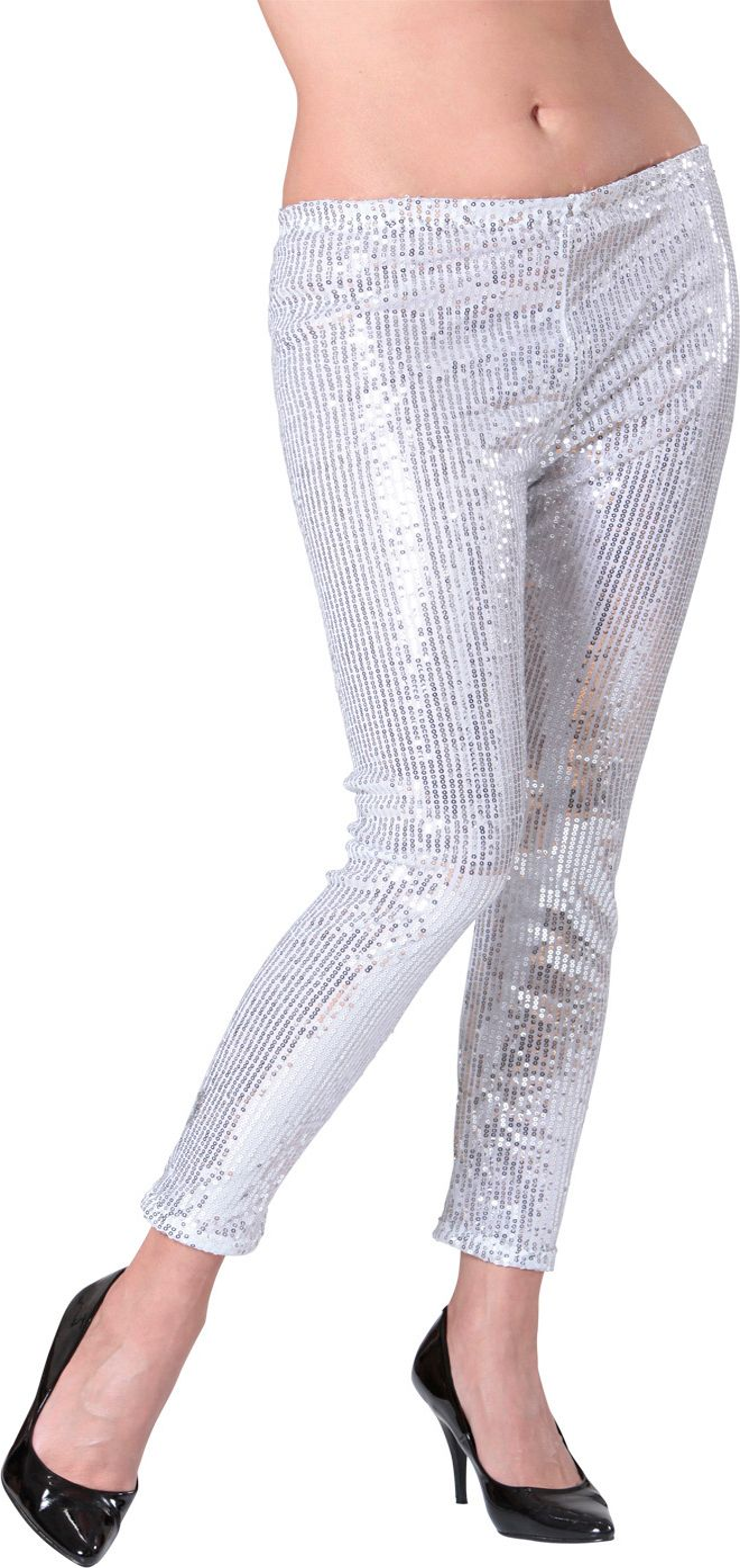Glitter pailletten legging zilver