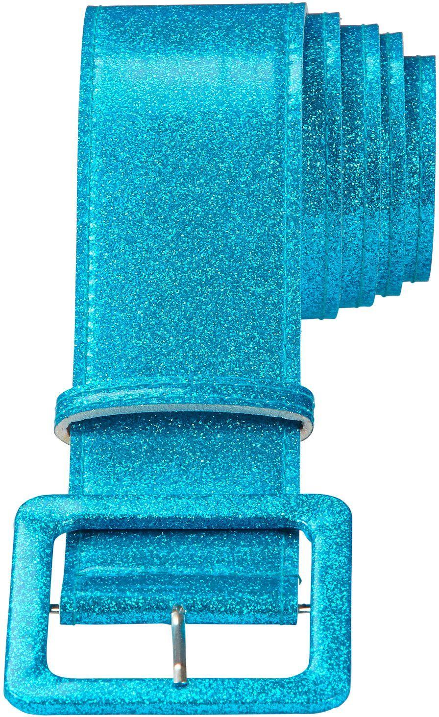 Glitter riem dames blauw