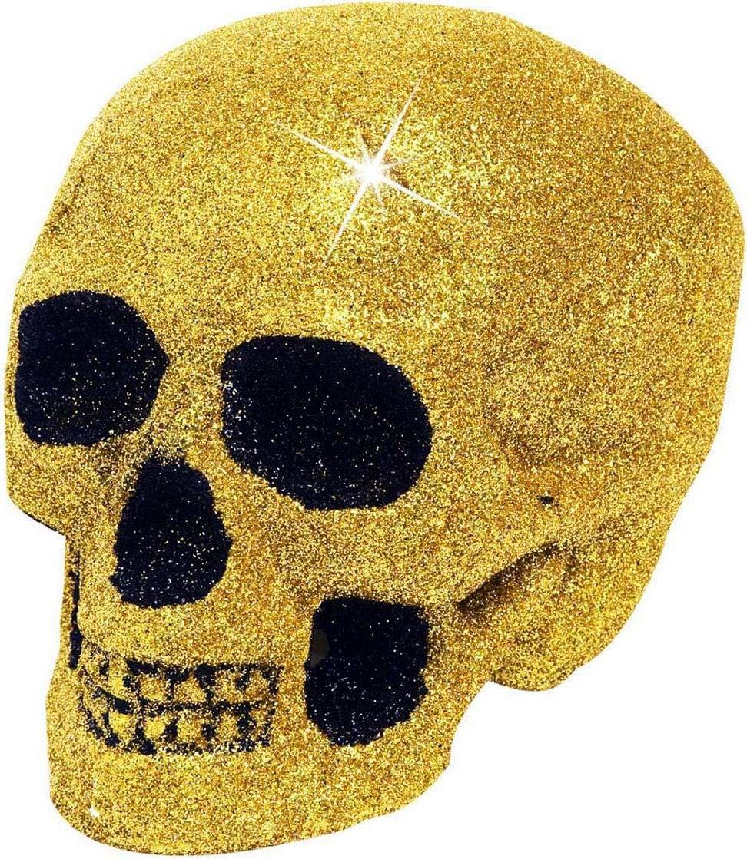 Glitter schedel goud