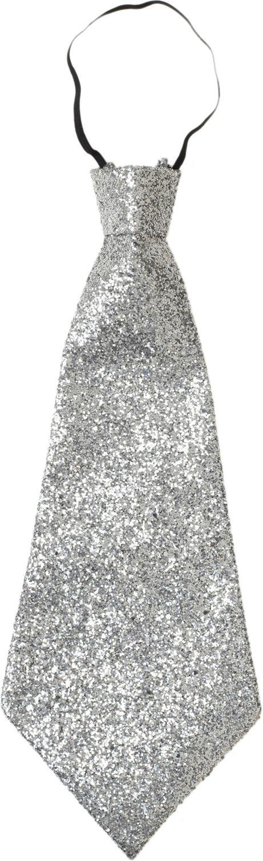 Glitter stropdas zilver