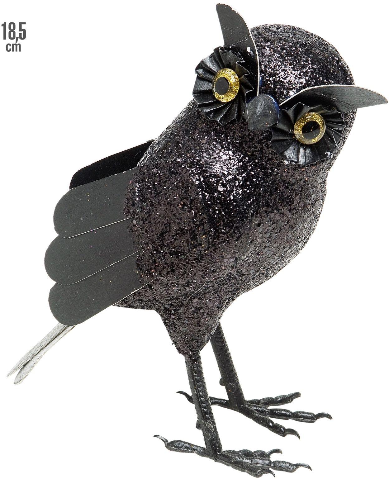 Glitter uil decoratie zwart
