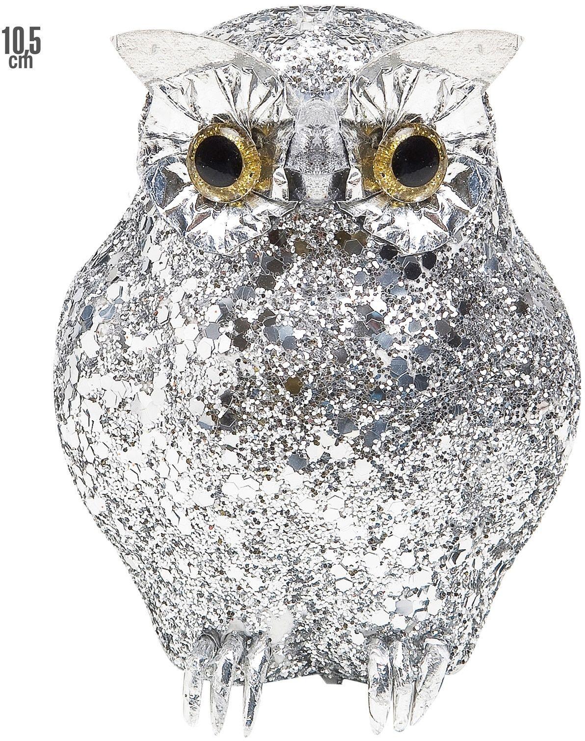 Glitter uil zilver
