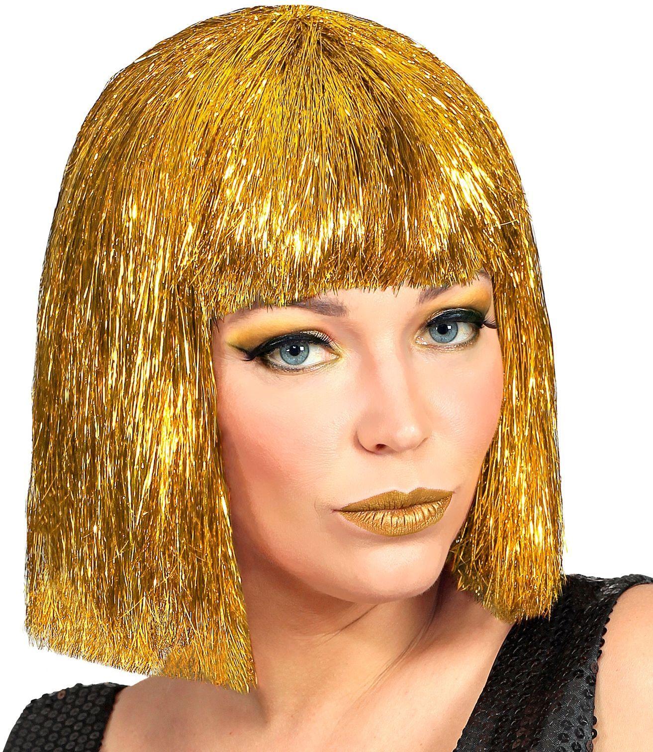 Glitter Vegas pruik goud