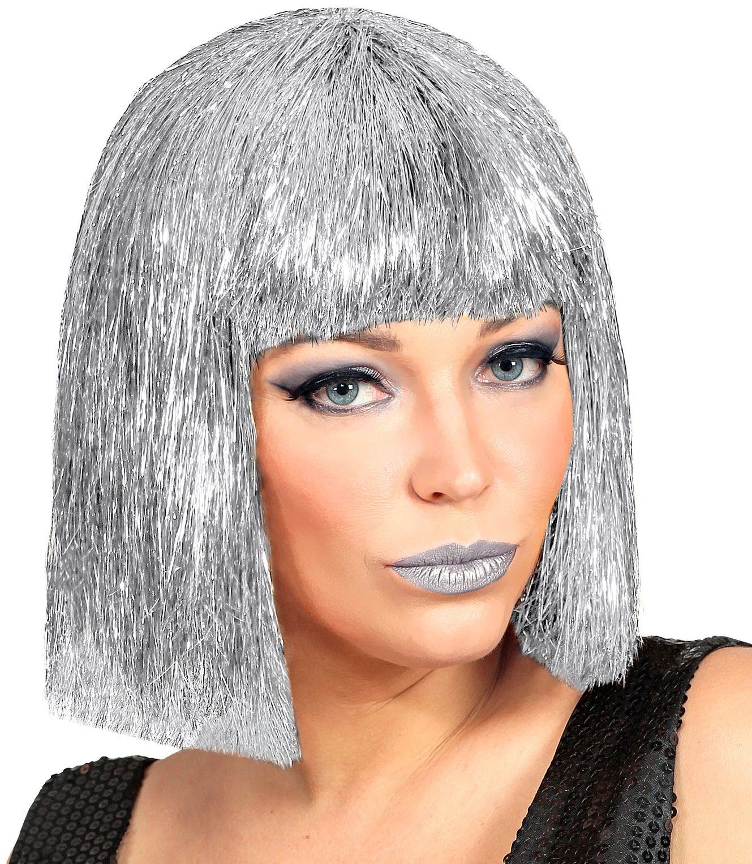 Glitter Vegas pruik zilver