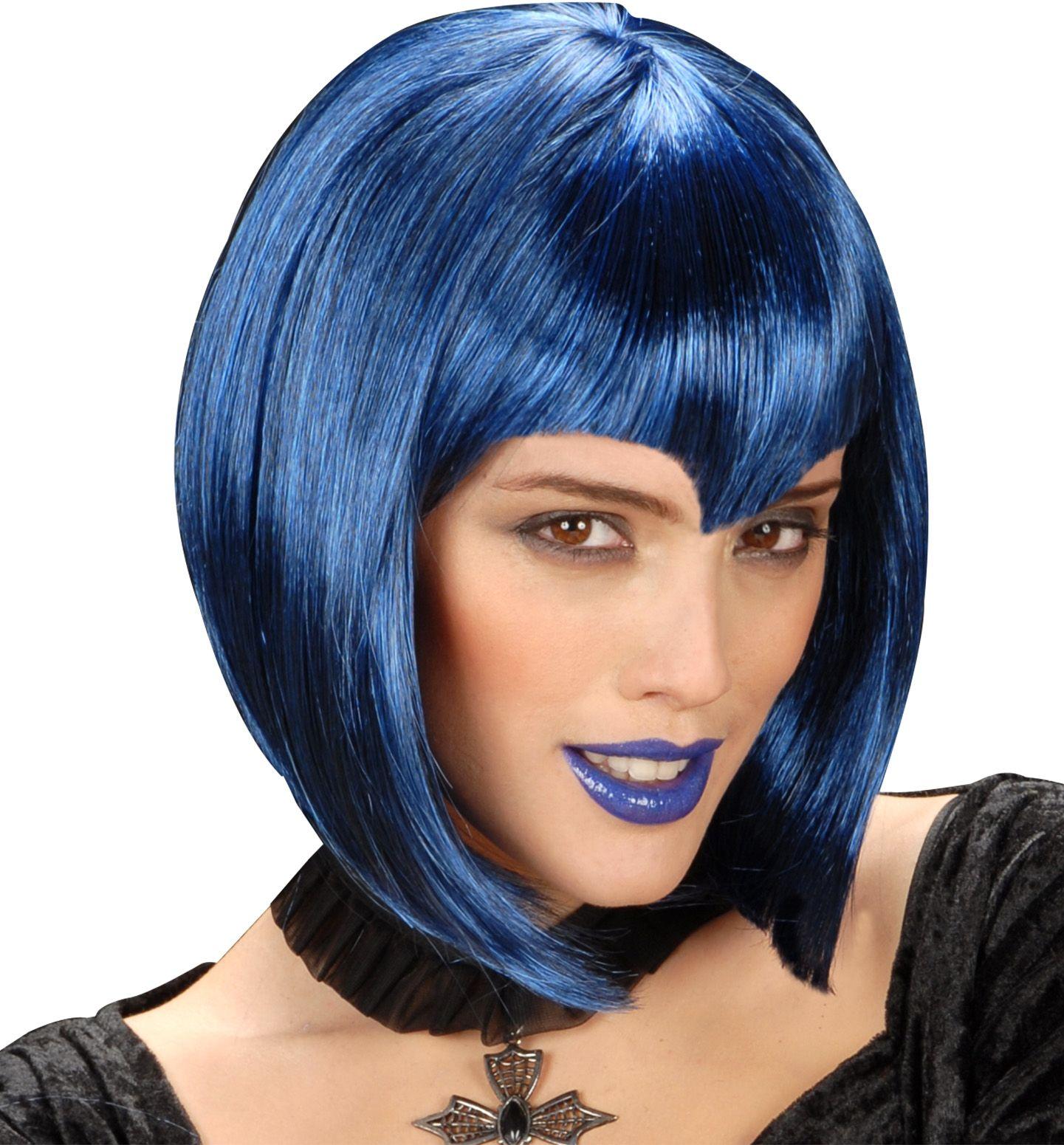 Gothic pruik blauw