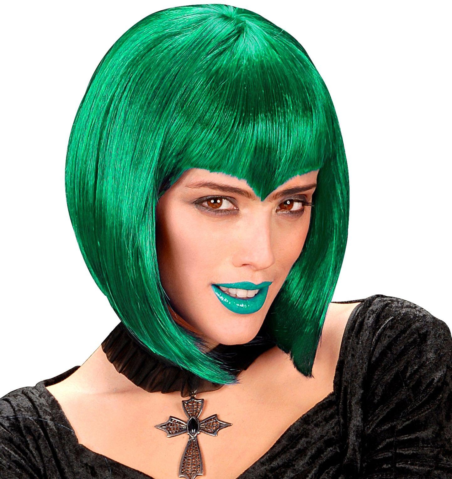Gothic pruik groen