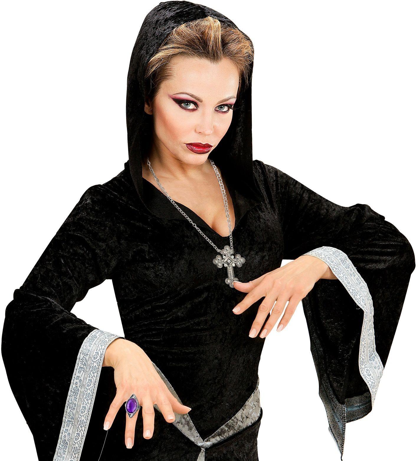 Gothic ring met paarse steen