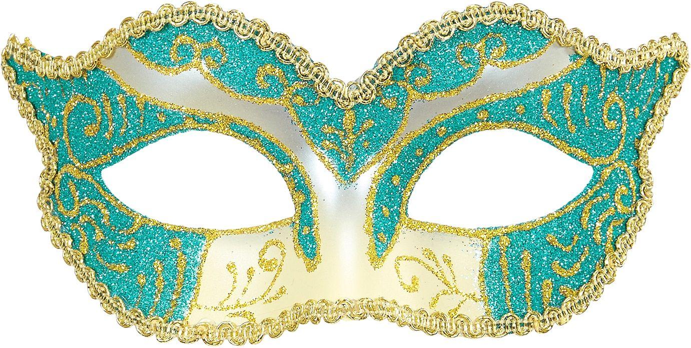 Goud-blauwe glitters hertogin oogmasker
