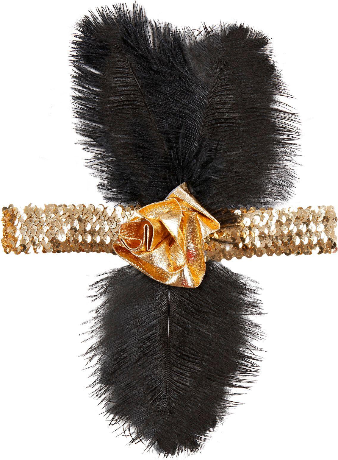 Gouden flapper hoofdband met bloem en veren