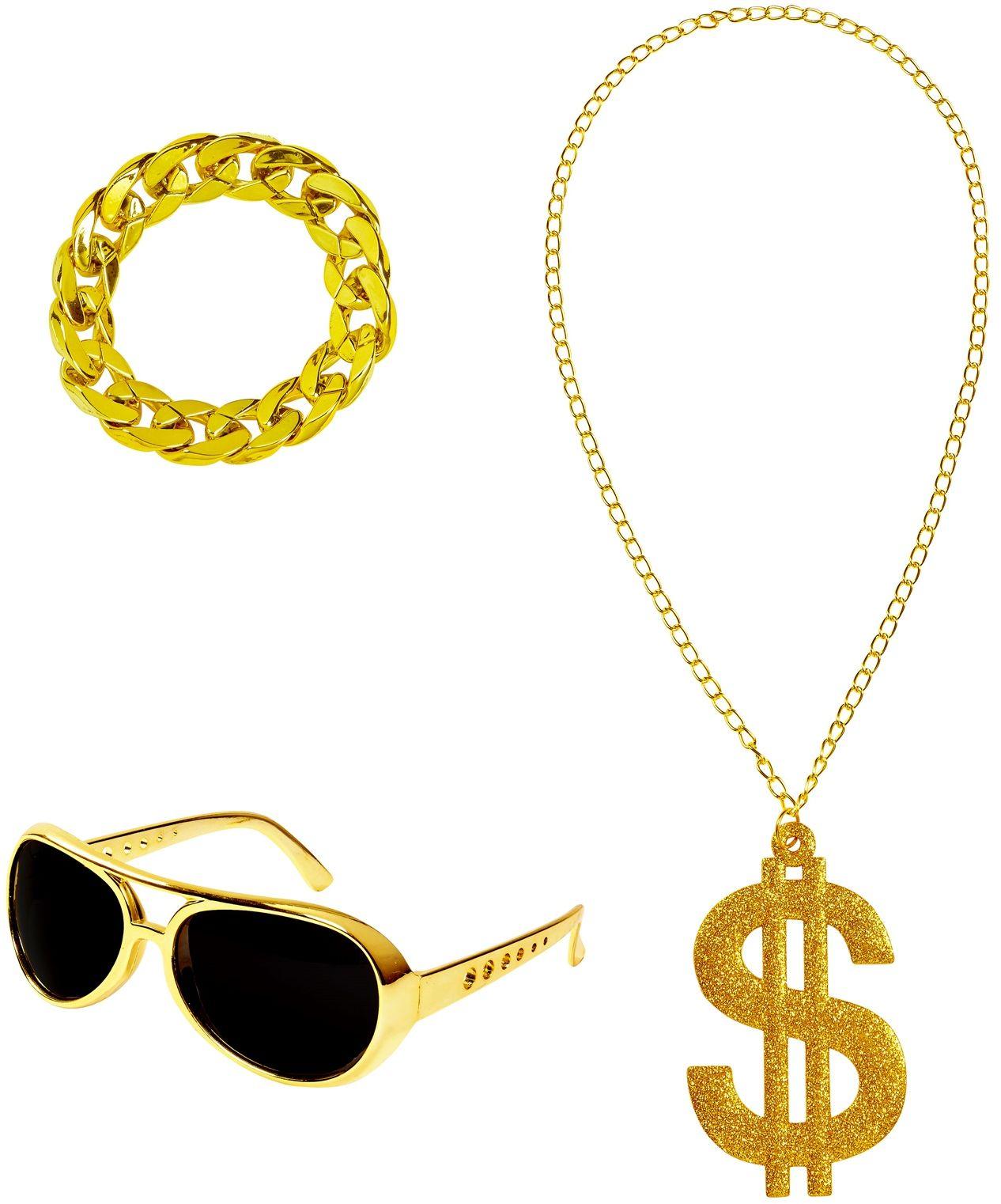 Gouden gangster accessoires mannen