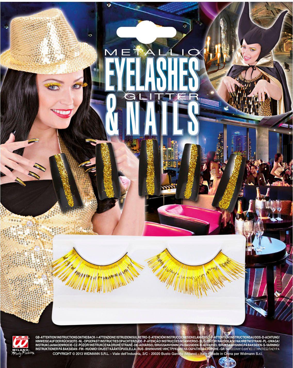Gouden glitternagels met oogwimpers