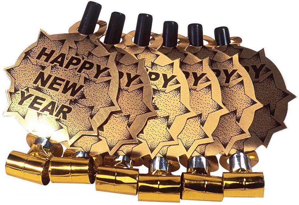 Gouden Happy New Year fluitjes 6 stuks