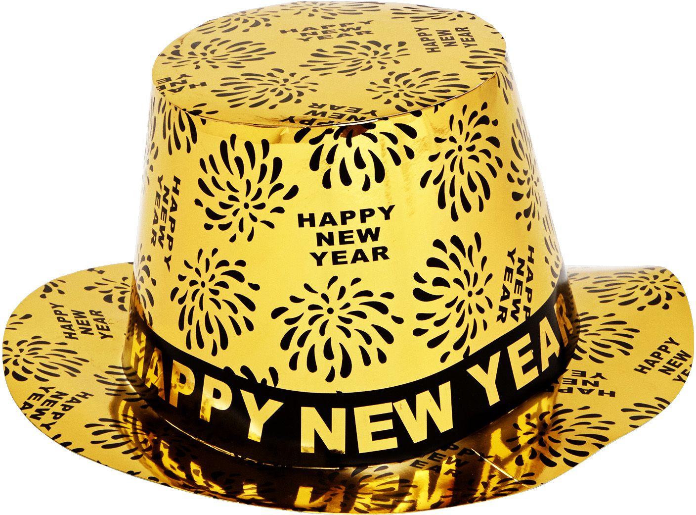 Gouden Happy New Year hoge hoed