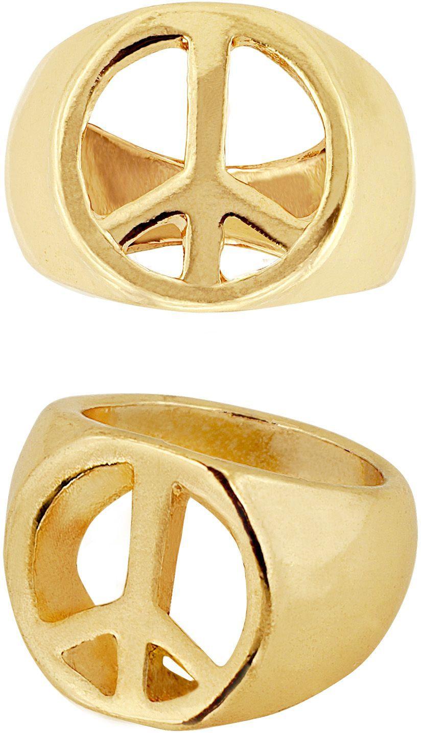 Gouden hippie peace ring