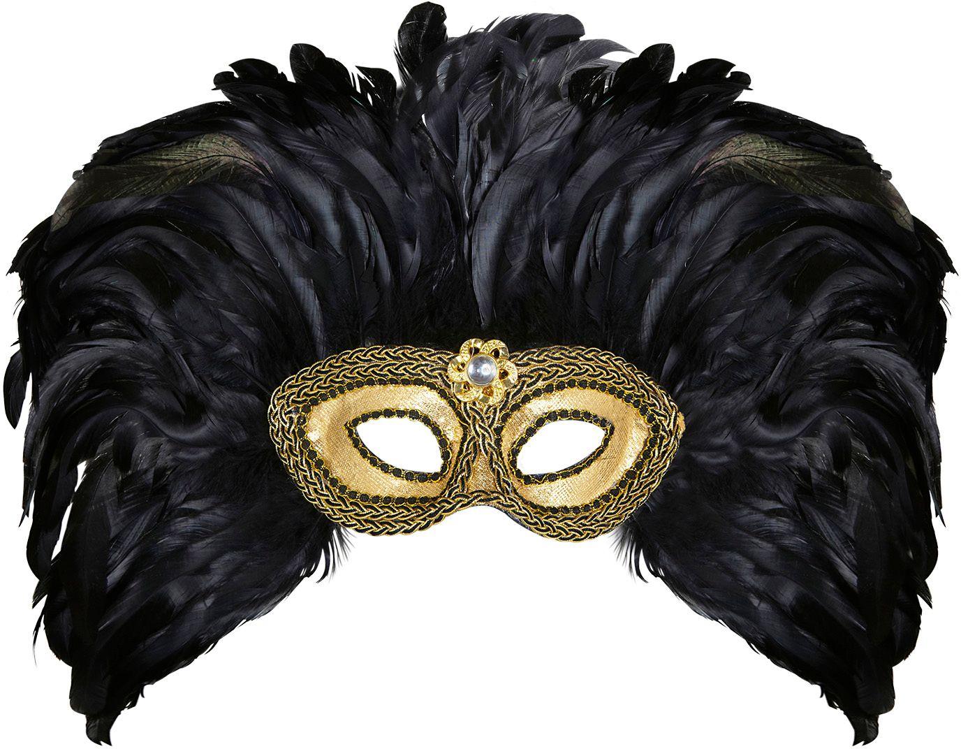 Gouden masker met zwarte veren