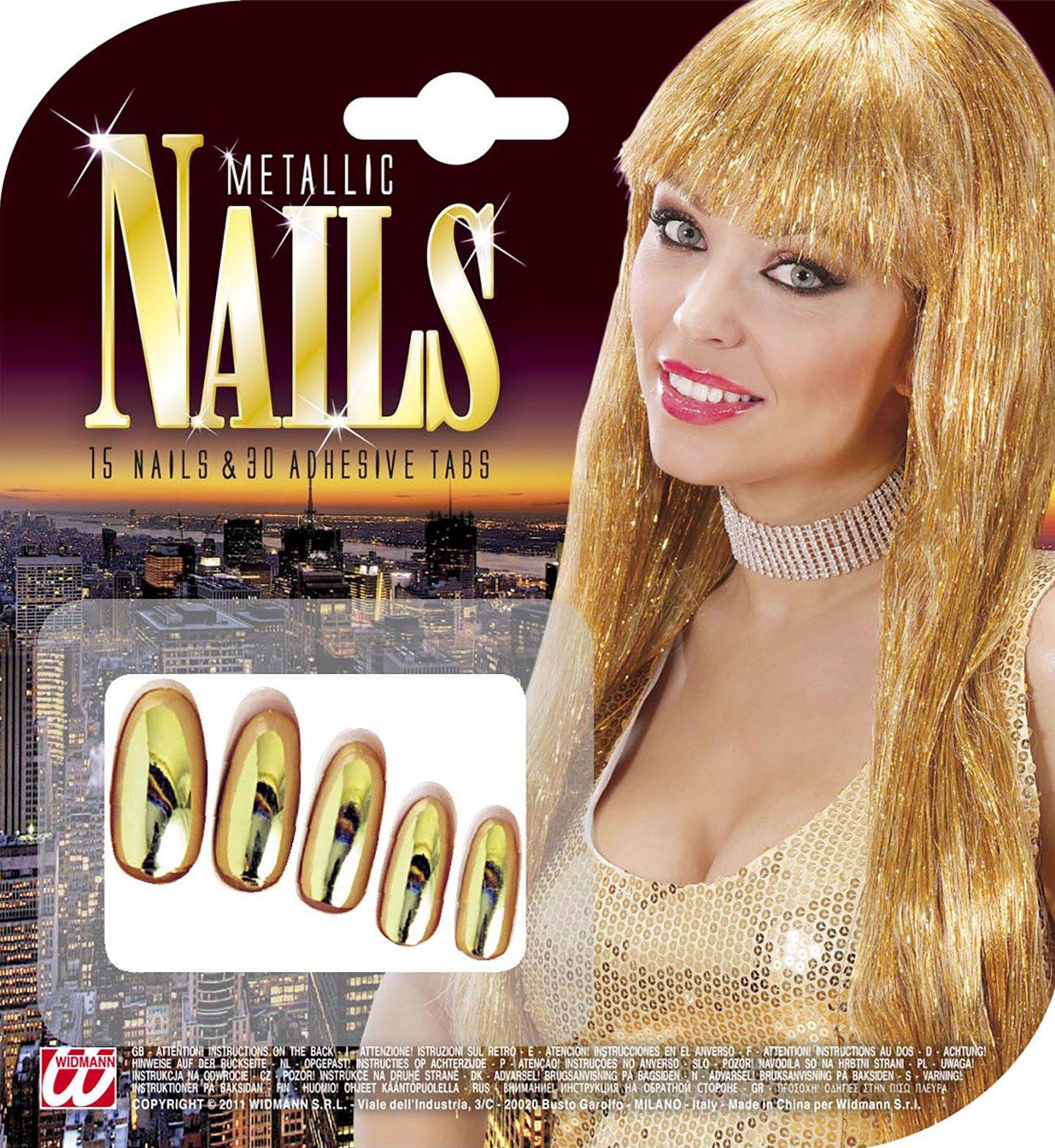 Gouden metallic nagels 15 stuks