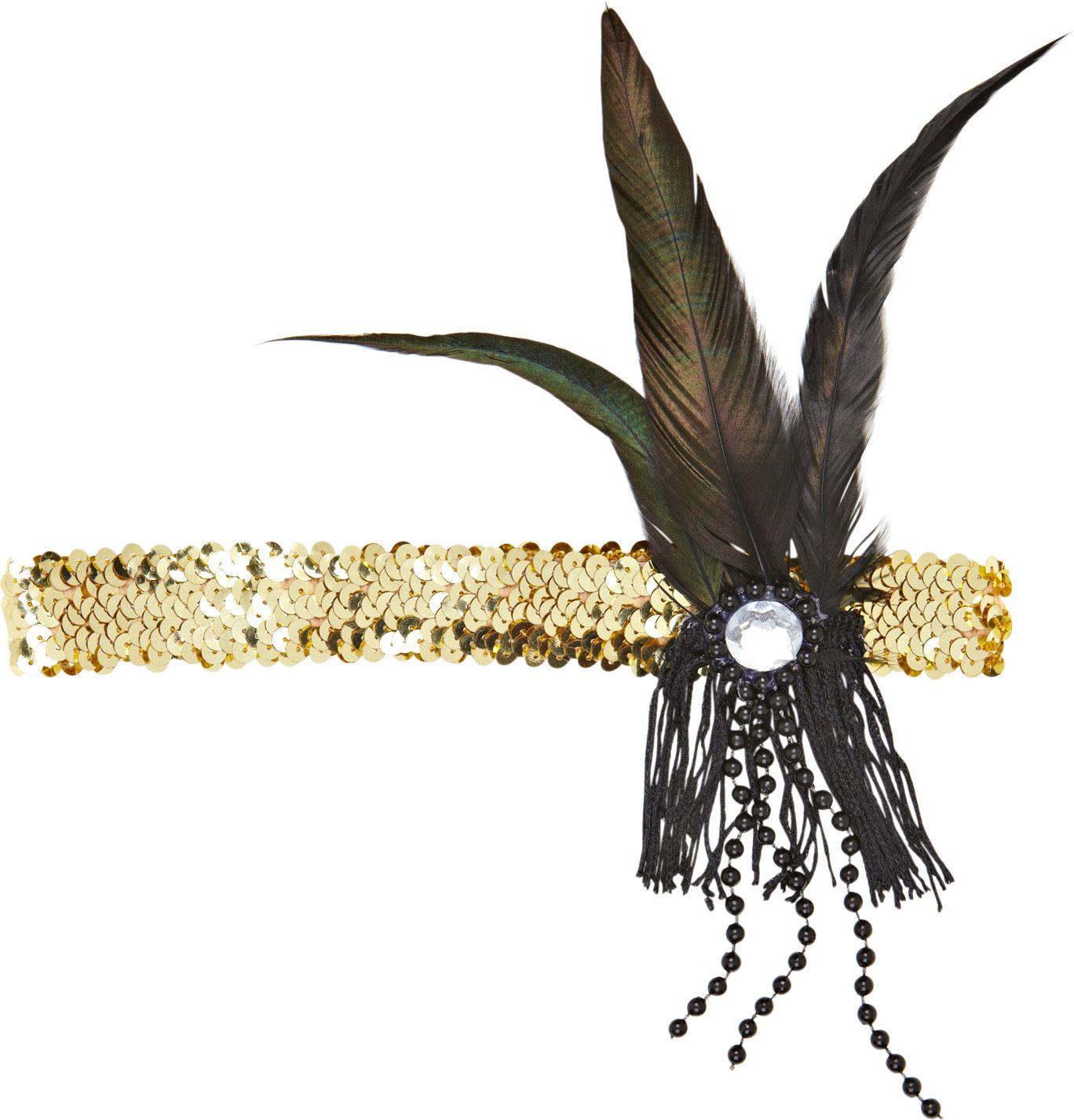 Gouden pailletten flapper hoofdband
