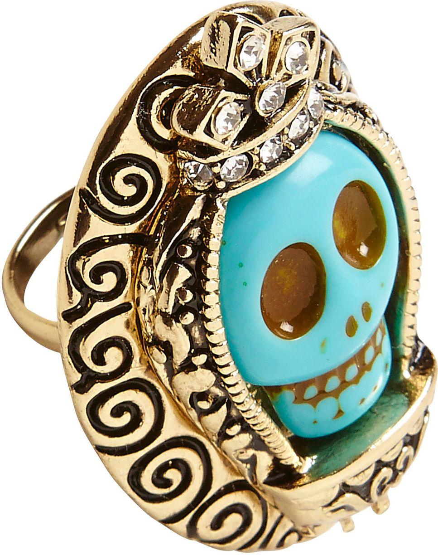 Gouden ring met azuur blauwe schedel