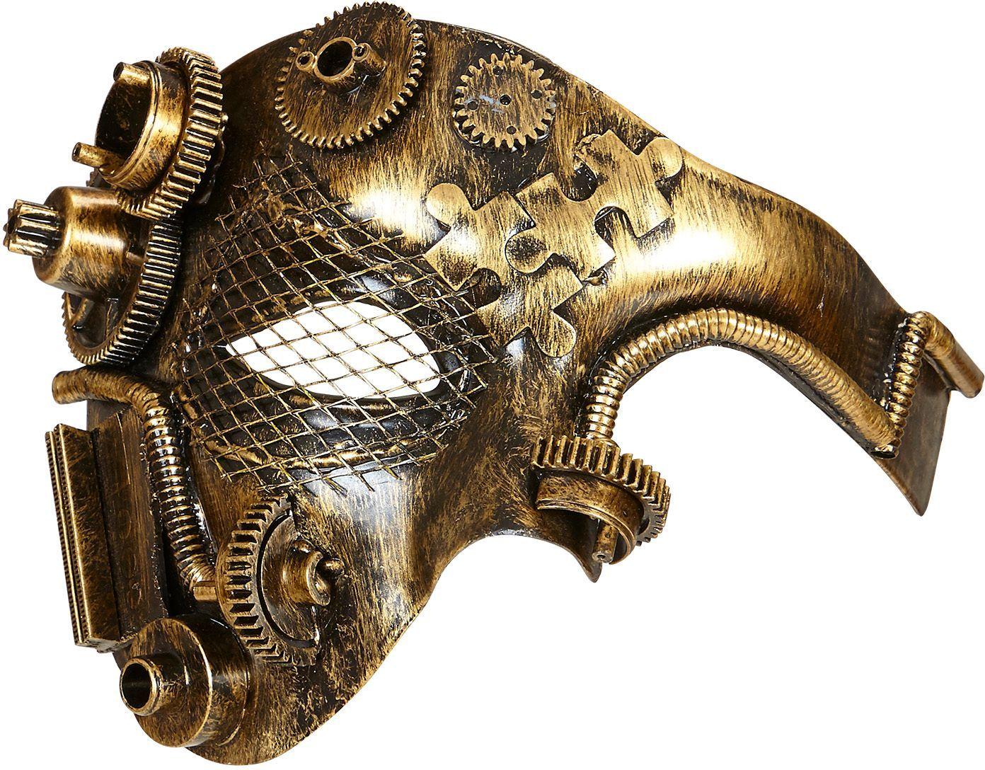 Gouden steampunk half-gezichts masker