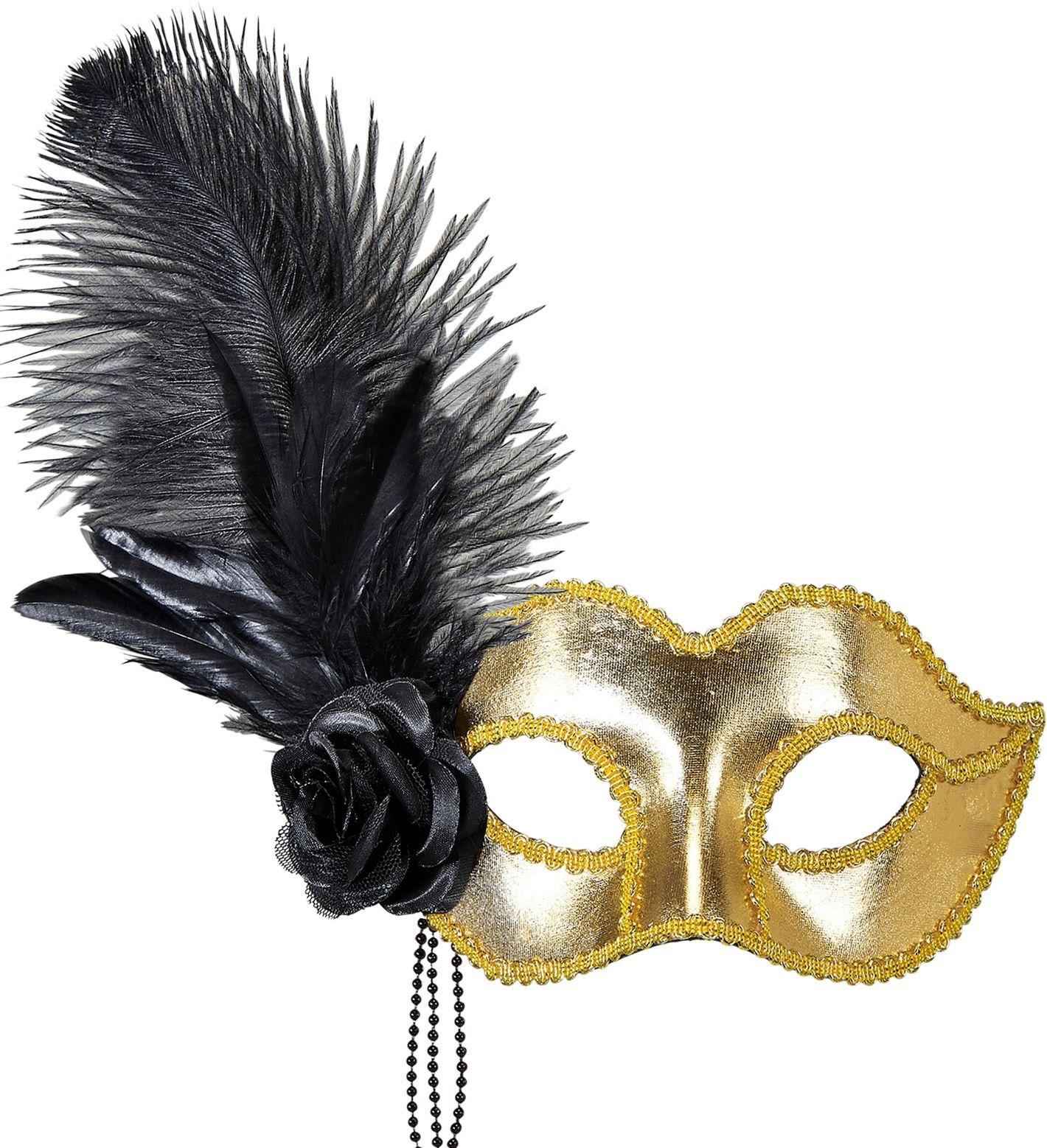 Gouden venetiaans oogmasker met roos en veren